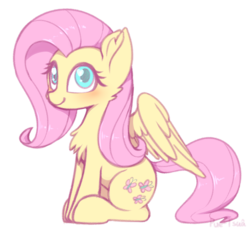 Size: 1100x1016 | Tagged: artist:puetsua, chest fluff, cute, ear fluff, female, fluttershy, mare, pegasus, pony, safe, shyabetes, solo, wingding eyes, wings