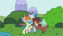 Size: 963x556 | Tagged: artist:purplewonderpower, bow, bush, chancellor neighsay, changedling, changeling, classical hippogriff, cloven hooves, colored hooves, cropped, cute, dragon, dragoness, earth pony, eyes closed, female, forgiveness, friendship, gallus, good end, griffon, hair bow, hippogriff, hug, jewelry, male, mountain, necklace, ocellus, pony, reconciliation, safe, sandbar, silverstream, smolder, stallion, student six, teenager, unicorn, yak, yona