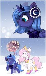 Size: 1280x2120 | Tagged: 2 panel comic, alicorn, artist:trickate, blushing, blush sticker, boots, cewestia, cheek fluff, clothes, comic, crown, cute, cutelestia, dragon, duo, earmuffs, exclamation point, female, filly, jewelry, lunabetes, open mouth, pink-mane celestia, pony, princess celestia, princess luna, profile, regalia, relatable, royal sisters, safe, scarf, shoes, sisters, snow, speech bubble, winter, woona, younger