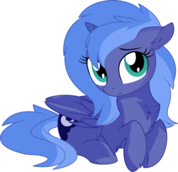 Size: 7061x6849 | Tagged: absurd res, alicorn, artist:aureai-sketches, artist:cyanlightning, chest fluff, cute, daaaaaaaaaaaw, ear fluff, female, filly, folded wings, hnnng, looking at you, lunabetes, pony, precious, princess luna, prone, s1 luna, safe, simple background, solo, .svg available, transparent background, vector, weapons-grade cute, wings, woona, younger
