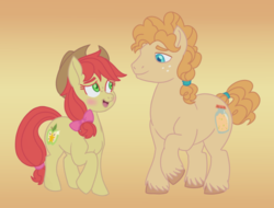 Size: 2700x2048 | Tagged: safe, artist:itoruna-the-platypus, bright mac, pear butter, earth pony, pony, blushing, bright bloom, brightabetes, cowboy hat, cute, female, freckles, hat, high res, looking at each other, male, mare, open mouth, pear brandy, pearabetes, rule 63, rule63betes, smiling, stallion, stetson, unshorn fetlocks