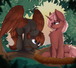 Size: 4816x4360 | Tagged: safe, artist:beardie, oc, oc only, oc:cherry sundae, oc:crimson wings, pegasus, pony, unicorn, fallout equestria: broken bonds, absurd resolution, behaving like a bird, bird nest, chest fluff, commission, fanfic art, female, lemme smash, male, mare, mating dance, nest, stallion, stick, tree