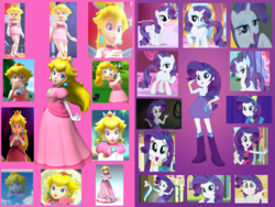 Size: 1500x1125 | Tagged: safe, artist:daniotheman, artist:sugar-loop, rarity, human, pony, equestria girls, equestria girls (movie), life is a runway, player piano, rainbow rocks, crossover, hasbro, hasbro studios, mario golf toadstool tour, mario power tennis, mario tennis, mario tennis power, nintendo, princess peach, raripeach, super mario bros., super mario galaxy, super mario galaxy 2, super smash bros., super smash bros. brawl, wondercolt ears, wondercolt tail, wondercolts, wondercolts uniform