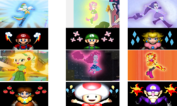 Size: 1500x900 | Tagged: safe, artist:daniotheman, applejack, fluttershy, pinkie pie, rainbow dash, rarity, sunset shimmer, equestria girls, friendship games, rainbow rocks, crossover, cutie mark, looking up, luigi, luigishy, maridash, mario, mario & luigi, mario party 4, mariopie, marioshy, nintendo, ponied up, princess daisy, princess peach, raripeach, super mario bros., toad (mario bros), toad pie, waluigi, waluset
