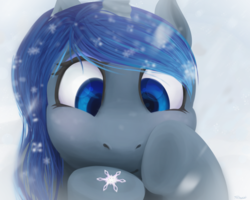 Size: 1500x1200 | Tagged: alicorn, artist:forteycat, close-up, cute, lineless, lunabetes, princess luna, safe, snow, snowfall, snowflake, solo