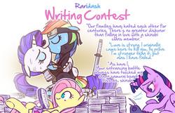 Size: 1048x673 | Tagged: safe, artist:raridashdoodles, fluttershy, rainbow dash, rarity, twilight sparkle, alicorn, pegasus, pony, unicorn, alternate universe, armor, coffee mug, female, headband, japanese, katana, lesbian, mug, ninja, otakushy, paper, raridash, raridash writing contest, shinobi, shipping, sweat, sword, swordman, swordmare, tired, twilight sparkle (alicorn), typewriter, weapon, yuri fangirl