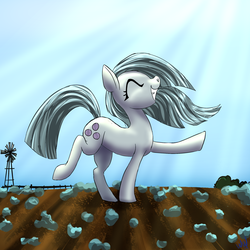 Size: 2220x2220 | Tagged: artist:pwnyville, artist:wild wald, cute, dancing, earth pony, eyes closed, female, grin, marblebetes, marble pie, mare, pony, rock farm, safe, smiling, solo