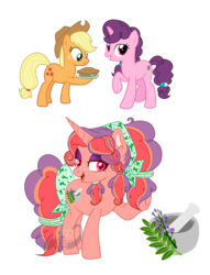 Size: 2532x3312 | Tagged: applejack, artist:lemonkaiju, female, food, magical lesbian spawn, mare, offspring, parent:applejack, parents:sugarjack, parent:sugar belle, pie, pony, safe, simple background, sugar belle, sugarjack, transparent background, unicorn