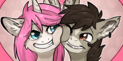 Size: 1000x500 | Tagged: safe, artist:lonerdemiurge_nail, oc, oc only, oc:tarot, oc:xor, classical unicorn, pony, sphinx, unicorn, cloven hooves, couple, curved horn, cute, duo, ear piercing, fangs, female, floppy ears, fluffy, happy, heart, hearts and hooves day, holiday, horn, interspecies, leonine tail, love, male, mare, oc x oc, piercing, romantic, shipping, smiling, snuggling, sphinx oc, squishy cheeks, straight, taror, toothy grin, unshorn fetlocks, valentine's day
