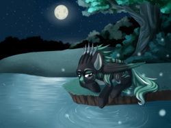 Size: 2012x1512 | Tagged: artist:senpai, female, firefly (insect), full moon, lidded eyes, mare, moon, night, oc, oc:alpine apotheon, oc only, pegasus, pony, prone, safe, solo, stars, water, ych result