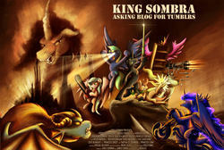Size: 1500x1008 | Tagged: safe, artist:jamescorck, artist:wiggles, king sombra, princess cadance, princess luna, oc, oc:coffee talk, oc:drizzle, oc:princess shelf, oc:seabreeze, oc:thranduelk, dragon, pony, ask king sombra, aqua teen hunger force, chainsaw, crystal empire, epic, minigun, motorcycle, movie parody, movie poster, plastic lightsaber, smoke