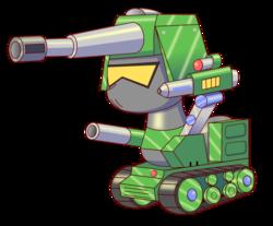 Size: 2000x1655 | Tagged: safe, artist:trackheadtherobopony, oc, oc:killdozer, oc:trackhead, original species, pony, robot, robot pony, wheelpone, cannon, silhouette, simple background, size comparison, solo, tank (vehicle), transparent background