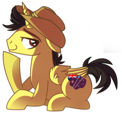 Size: 1818x1703 | Tagged: alicorn, alicorn oc, artist:itaricutebases, commissioner:bigonionbean, cute, hat, male, oc, oc:tommy the human, ponified, pony, safe, stallion
