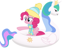 Size: 5029x3873 | Tagged: safe, artist:sollace, pinkie pie, princess celestia, pony, best gift ever, .svg available, boat, clothes, floaty, inflatable, inflatable toy, objectified, pointing, pool toy, simple background, solo, swanlestia, transparent background, vector