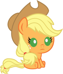 Size: 686x800 | Tagged: applejack, artist:seahawk270, baby, babyjack, baby pony, cowboy hat, cute, foal, freckles, hat, jackabetes, part of a set, pony, safe, simple background, sitting, solo, stetson, transparent background, weapons-grade cute