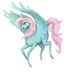 Size: 1024x1170   Tagged: safe, artist:kaakaosusi, wind whistler, pegasus, pony, g1, cute, eyes closed, female, flying, mare, open mouth, smiling, whistlerbetes
