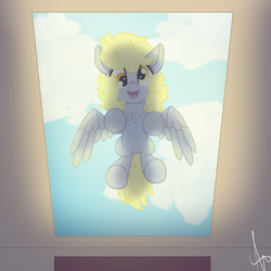 Size: 999x999 | Tagged: artist:inspiration1413, cloud, cute, derpabetes, derpy hooves, female, from below, glass, looking at you, mare, pegasus, pony, safe, skylight, smiling, solo, underhoof, window