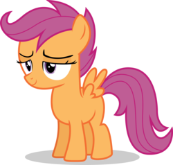 Size: 3637x3456 | Tagged: alternate version, artist:tomfraggle, female, filly, part of a set, pony, safe, scootaloo, simple background, smiling, transparent background