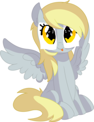Size: 6190x8070 | Tagged: safe, artist:cyanlightning, derpy hooves, pegasus, pony, .svg available, :p, absurd resolution, cute, derp, derpabetes, derpy being derpy, disguise, ear fluff, female, mare, paper-thin disguise, silly, silly pony, simple background, sitting, solo, tongue out, transparent background, underp, vector