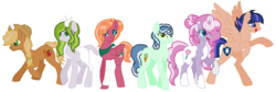 Size: 906x306 | Tagged: safe, artist:iheartpop30, artist:ingoingmage920, oc, oc only, oc:cinnamon, oc:emerald, oc:sterling, oc:sugar apple, oc:sweet heart, dracony, earth pony, hybrid, pegasus, pony, unicorn, bandage, base used, coat markings, cowboy hat, fangs, female, freckles, hat, interspecies offspring, magical lesbian spawn, male, mare, neckerchief, next generation, offspring, parent:applejack, parent:big macintosh, parent:bon bon, parent:flash sentry, parent:fluttershy, parent:lyra heartstrings, parent:pinkie pie, parent:pokey pierce, parent:rarity, parent:spike, parent:troubleshoes clyde, parent:twilight sparkle, parents:flashlight, parents:fluttermac, parents:lyrabon, parents:pokeypie, parents:sparity, parents:troublejack, pinto, rearing, simple background, stallion, white background