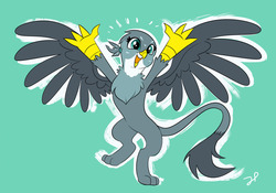 Size: 1280x898 | Tagged: safe, artist:jokerpony, gabby, griffon, bipedal, blue background, cute, excited, female, gabbybetes, open mouth, paws, simple background, solo