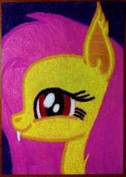 Size: 1761x2477   Tagged: safe, artist:aracage, fluttershy, bat pony, pony, bat ponified, bust, fangs, female, flutterbat, looking at you, portrait, race swap, smiling, solo, traditional art