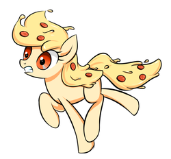 Size: 763x709 | Tagged: safe, artist:twilite-sparkleplz, oc, oc:mozzarella orgy, food pony, original species, pizza pony, pony, dilated pupils, food, meat, pepperoni, pizza, running, solo