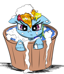 Size: 1500x1724 | Tagged: safe, artist:chopsticks, rainbow dash, pegasus, pony, adorable face, angry, bath, bath time, bubble bath, bucket, cheek fluff, cute, dashabetes, female, filly, filly rainbow dash, floppy ears, grumpy, grumpy dash, looking at you, not amused face, simple background, soap, solo, unamused, wet mane, younger