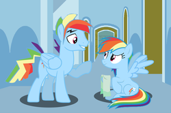 Size: 814x539 | Tagged: artist:kayman13, dashblitz, female, male, pony, rainbow blitz, rainbow dash, rule 63, safe, selfcest, self ponidox, shipping, straight, towel