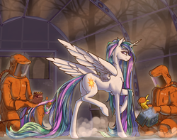 Size: 1900x1500 | Tagged: safe, artist:madhotaru, princess celestia, alicorn, human, pony, female, geiger counter, hazmat suit, hoof shoes, horseshoes, implied transformation, looking back, mare, missing accessory, plot, raised hoof, smiling, spread wings, wet mane, wings