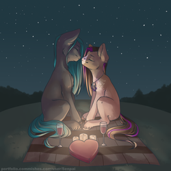 Size: 2312x2312 | Tagged: alcohol, artist:senpai, box of chocolates, candle, earth pony, eyes closed, glass, heart shaped box, night, oc, oc only, picnic blanket, pony, safe, shipping, solo, stars, unshorn fetlocks, wine, wine glass