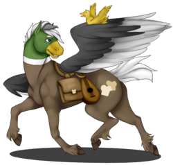 Size: 1035x987 | Tagged: safe, artist:waxraven, oc, oc:dolan, oc:duk, duck, duck pony, pegasus, pony, ponyfinder, bard, dungeons and dragons, fantasy class, lute, pen and paper rpg, quack, quak, realistic, realistic anatomy, rpg, saddle bag, simple background, solo, transparent background