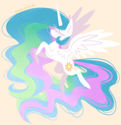 Size: 1240x1280 | Tagged: safe, artist:mermailada, princess celestia, alicorn, pony, cute, cutelestia, eyes closed, female, flying, horn, lineless, mare, simple background, smiling, solo, stylized, wings, yellow background