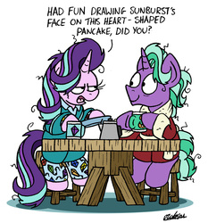 Size: 1667x1788 | Tagged: safe, artist:bobthedalek, firelight, starlight glimmer, pony, unicorn, adventure in the comments, annoyed, bathrobe, bed mane, breakfast, clothes, coffee, coffee mug, coffee pot, derail in the comments, eye contact, father and daughter, fathers gonna father, female, firelight the shipper, frown, glare, hoof hold, implied starburst, implied sunburst, lidded eyes, looking at each other, male, mare, messy mane, mug, pajamas, parenting, plate, robe, shipper on deck, simple background, sitting, smiling, stallion, starlight is not amused, table, that pony sure does want grandfoals, unamused, white background, wide eyes
