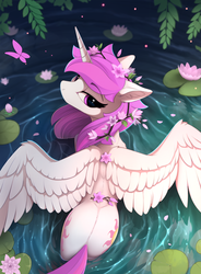 Size: 1670x2266 | Tagged: alicorn, alternate hairstyle, artist:yakovlev-vad, both cutie marks, cute, cutelestia, ear fluff, edit, editor:assturtle, female, floppy ears, flower, flower in hair, from above, lidded eyes, lily (flower), lilypad, looking at you, looking back, looking back at you, looking up, mare, pink-mane celestia, plot, pony, pretty, princess celestia, safe, solo, spread wings, sunbutt, tree branch, water, water lily, wings