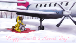 Size: 3840x2160 | Tagged: a-10 thunderbolt ii, artist:sugar morning, blanket, commission, couple, cuddling, cute, eyes closed, female, forest, happy hearts and hooves day, happy valentines day, heart, hearts and hooves day, hug, love, male, mare, oc, oc:hawkshot, oc only, oc:sierra, oc x oc, original species, pegasus, plane, plane pony, pony, safe, shipping, snow, stallion, text, tree