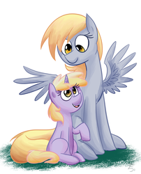 Size: 1280x1588 | Tagged: safe, artist:gintoki23, derpy hooves, dinky hooves, pegasus, pony, unicorn, blank flank, cute, derpabetes, diadinkes, dinkabetes, equestria's best daughter, equestria's best mother, female, filly, like mother like daughter, mare, mother and daughter, newbie artist training grounds