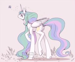 Size: 2250x1853 | Tagged: safe, artist:midlstrit, princess celestia, alicorn, butterfly, pony, female, mare, smiling