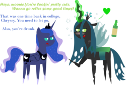 Size: 3503x2369 | Tagged: alcohol, alicorn, artist:sketchmcreations, changeling, changeling queen, chrysaluna, drunk, female, glowing horn, hearts and hooves day, holiday, hoof shoes, inkscape, lesbian, magic, pointy ponies, pony, princess luna, queen chrysalis, safe, shipping, simple background, telekinesis, transparent background, valentine's day, vector