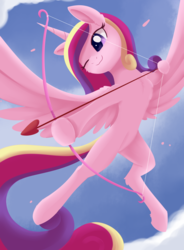 Size: 1825x2481 | Tagged: safe, artist:dusthiel, princess cadance, alicorn, pony, arrow, bow (weapon), cloud, cupid, cupidance, cute, cutedance, female, flying, heart, heart arrow, hoof hold, mare, one eye closed, princess of love, sky, solo, wings