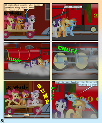 Size: 900x1080 | Tagged: safe, artist:lister-of-smeg, apple bloom, applejack, rainbow dash, rarity, scootaloo, sweetie belle, pony, comic:horkosworks, comic, cutie mark crusaders, hand car, train
