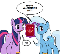Size: 598x544 | Tagged: artist:dekomaru, edit, female, holiday, lesbian, pony, safe, shipping, trixie, twilight sparkle, twixie, valentine card, valentine's day