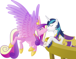 Size: 4888x3768 | Tagged: alicorn, artist:egophiliac, artist:negatif22, female, flying, kissing, male, mare, pony, princess cadance, safe, shining armor, shiningcadance, shipping, stallion, straight, unicorn, vector