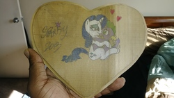 Size: 2560x1440 | Tagged: safe, artist:mickeymonster, rarity, spike, female, heart, hearts and hooves day, male, shipping, sparity, straight, wood, woodcraft