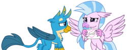 Size: 8739x3443 | Tagged: artist:ejlightning007arts, card, classical hippogriff, cute, female, gallstream, gallus, griffon, hearts and hooves day, hippogriff, holiday, male, safe, shipping, silverstream, simple background, straight, transparent background, valentine card, valentine's day, vector