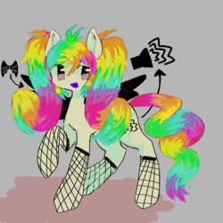 Size: 768x768 | Tagged: artist:jqzz, eyestrain warning, female, fishnets, gray background, mare, oc, oc:cacophony, oc only, one hoof raised, open mouth, pegasus, pony, rainbow, rainbow hair, safe, scene kid, simple background, smiling, solo, standing, wings