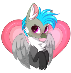 Size: 2598x2680 | Tagged: artist:pesty_skillengton, blushing, cute, griffon, heart, male, oc, oc:fluffy (the griffon), oc only, safe, solo, spread wings, wings, ych result
