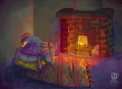 Size: 1280x942 | Tagged: safe, artist:lilsunshinesam, oc, pony, fire, fireplace, pillow, rug, sleeping, solo, warmth