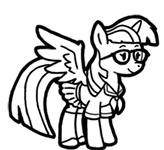 Size: 164x150 | Tagged: safe, artist:crazyperson, moondancer, alicorn, pony, fallout equestria, fallout equestria: commonwealth, alicornified, black and white, fanfic art, female, glasses, grayscale, hooves, horn, mare, monochrome, moondancercorn, picture for breezies, race swap, simple background, solo, transparent background, wings