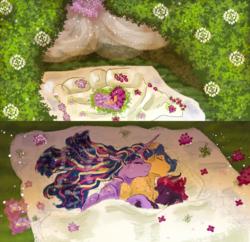 Size: 2484x2400 | Tagged: safe, artist:miyathegoldenflower, flash sentry, tempest shadow, twilight sparkle, alicorn, pony, bed, behaving like a bird, bi twi, bisexual, cuddle puddle, cuddling, female, flashlight, flower, implied aftersex, leaves, lesbian, male, nest, nesting instinct, petals, polyamory, pony pile, romantic, shipping, sleeping, spooning, straight, tempestflashlight, tempestlight, tempestsentry, twilight sparkle (alicorn)